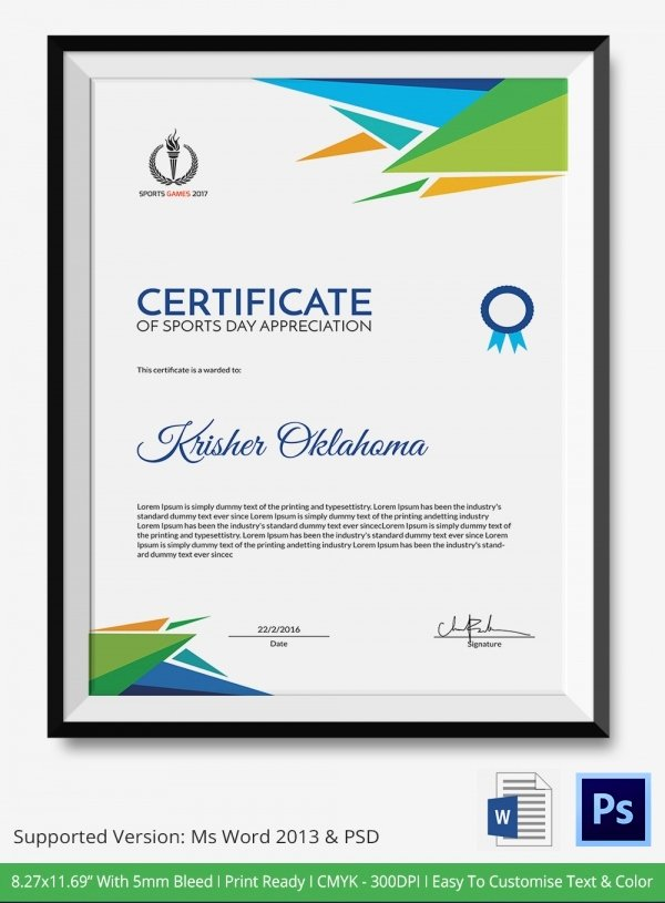 Sports Certificate format In Word Lovely Certificate Of Sports Day Template 6 Word Psd Ai