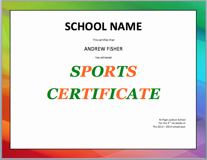 Sports Certificate format In Word New School Sports Certificate Template – Microsoft Word Templates