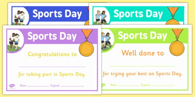 Sports Certificate Templates for Word Awesome Sports Day Certificate Template Sports Day Effort