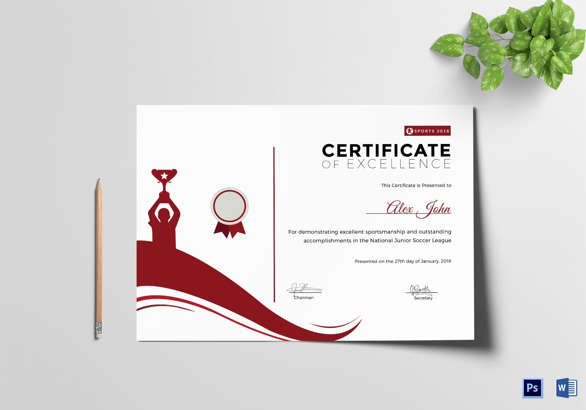 Sports Certificate Templates for Word Best Of Sportsmanship Excellence Certificate Design Template In