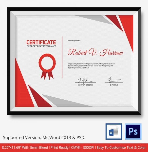 Sports Certificate Templates for Word Elegant Sports Certificate Template 6 Word Psd format Download