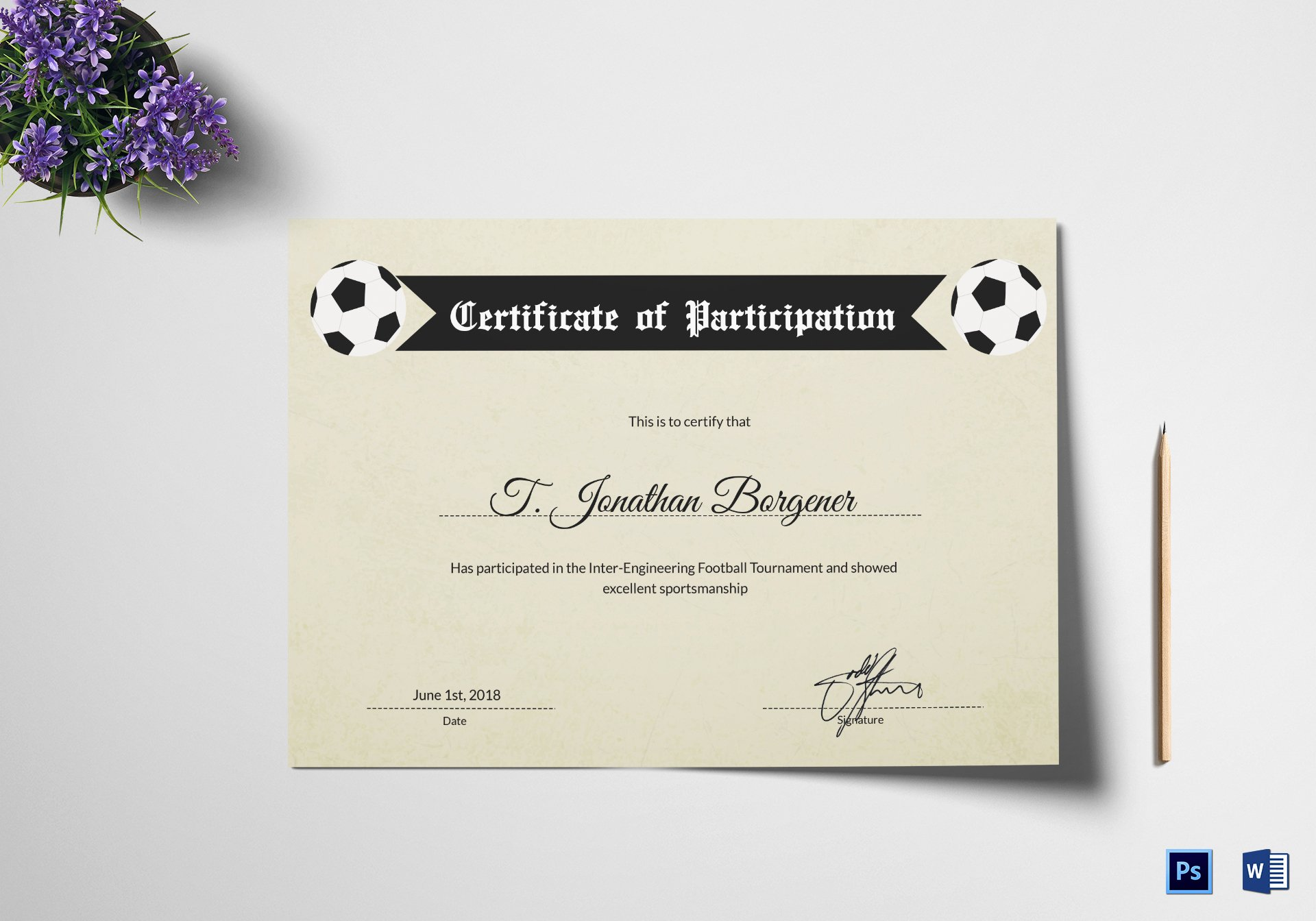 Sports Certificate Templates for Word Inspirational Sports Day Football Certificate Design Template In Psd Word