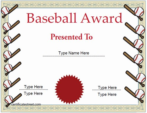 Sports Certificate Templates for Word Lovely Baseball Certificate Template