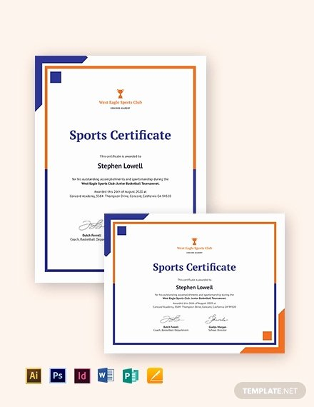 Sports Certificate Templates for Word New Sports Certificate Template 25 Word Psd Ai Indesign