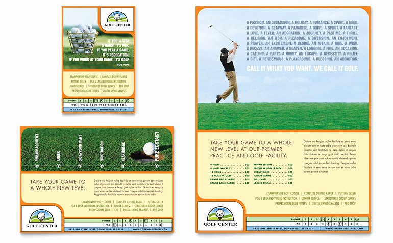 Sports Program Template Microsoft Word Beautiful Golf Instructor & Course Flyer & Ad Template Word