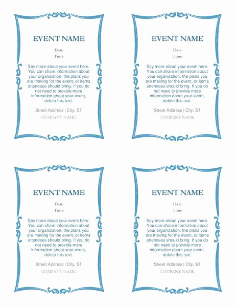 Sports Program Template Microsoft Word Best Of event Invitations 4 Per Page