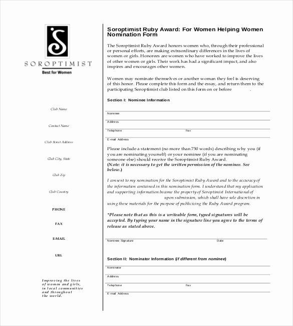 Spot Award Nomination Sample Inspirational Award Nomination form Template 12 Free Word Pdf