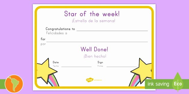 Star Of the Week Certificate Awesome Star Of the Week Award Certificate Us English Spanish