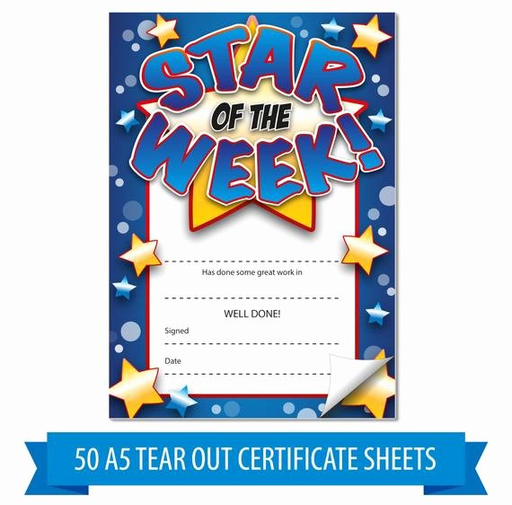 Star Of the Week Certificate Elegant 50x A5 Blue Star Of the Week Tear Out Home Notes Certificates