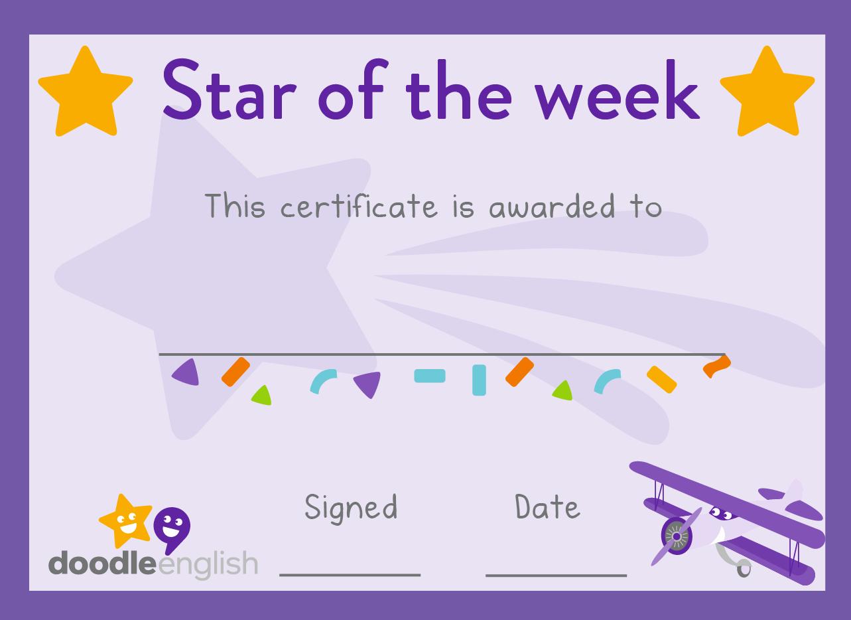 Star Of the Week Certificate Fresh Teacher Resources