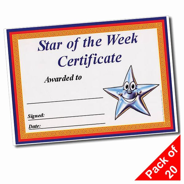 Star Of the Week Certificate Inspirational Star Of the Week Certificates 20 Per Pack A5