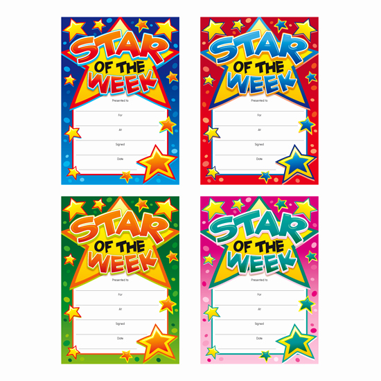 Star Of the Week Certificate Inspirational Star the Week Children S Certificates