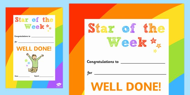 Star Of the Week Certificate Luxury Star Of the Week Decorative Certificate Certificate Star