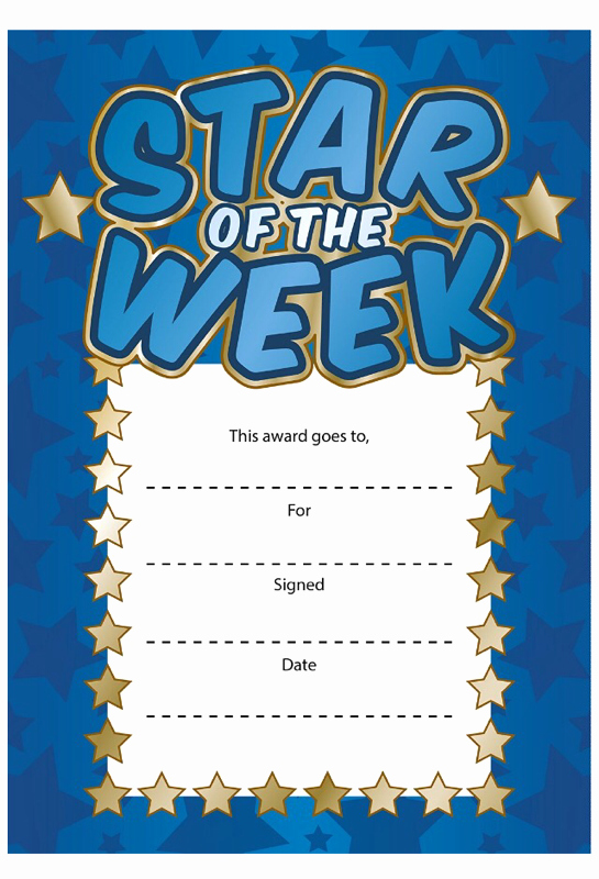 Star Of the Week Certificate New Star Of the Week Certificates