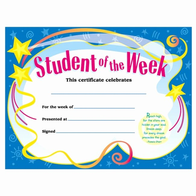 Star Of the Week Certificate Unique Trend Student Of the Week Certificate Quickship