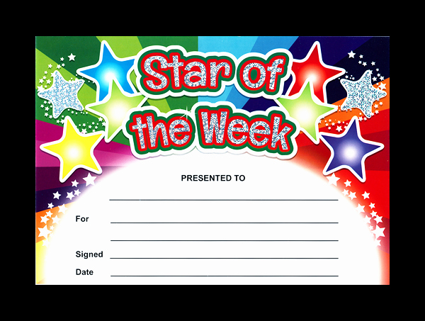 Star Of the Week Certificates Beautiful Sparkling Star Of the Week Certificates