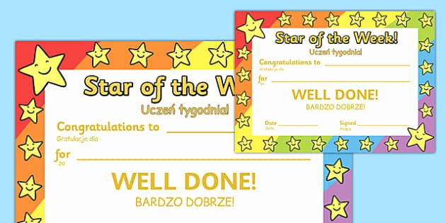 Star Of the Week Certificates Best Of Star Of the Week Award Certificate Polish Translation