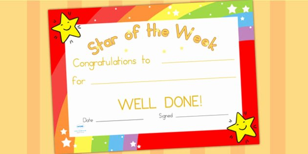Star Of the Week Certificates Elegant Star Of the Week Certificate Award Reward Certificate