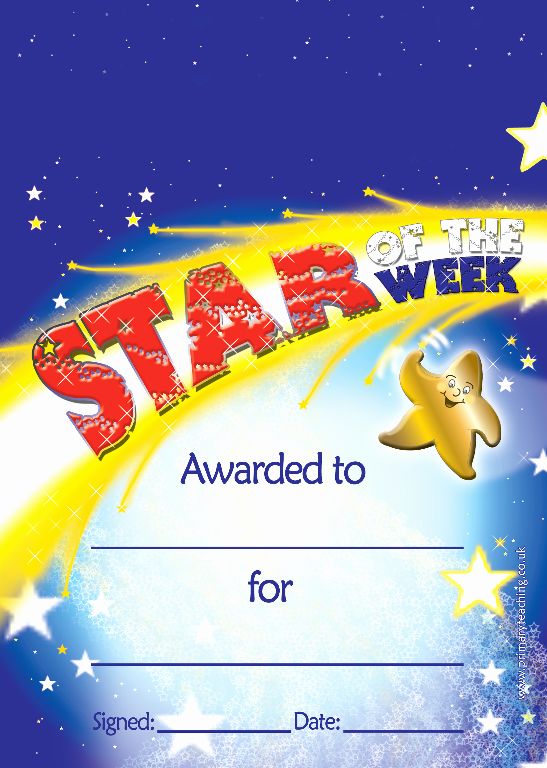 Star Of the Week Certificates Fresh Customised Star Of the Week Certificates A5