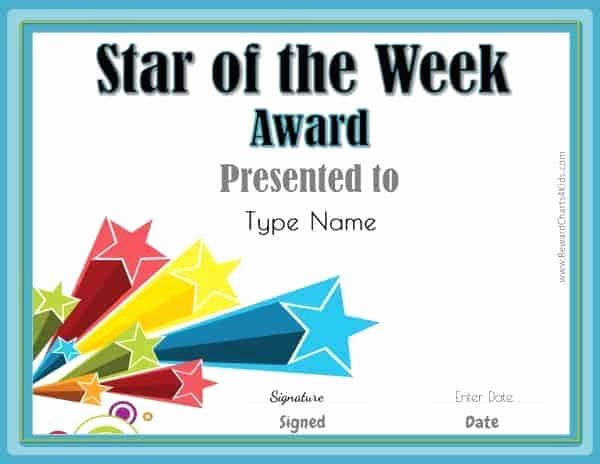 Star Of the Week Certificates Fresh Star Of the Week