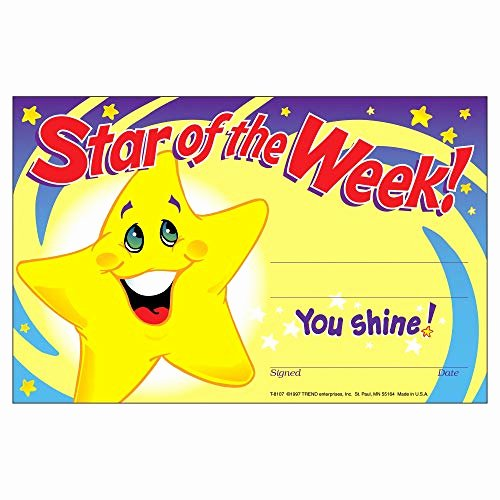Star Of the Week Certificates Lovely Trend Star Of the Week School Certificate Amazon