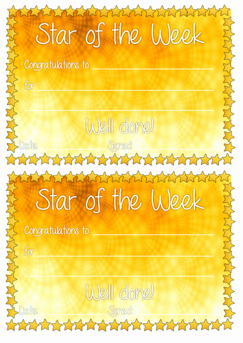 Star Of the Week Certificates Luxury Star Of the Week Certificates by toyahah Teaching