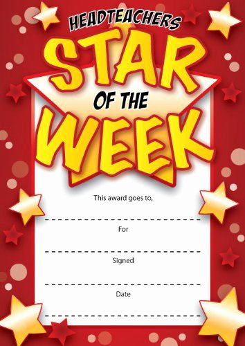 Star Of the Week Certificates Luxury Upc 16 A6 Headteachers Star the Week