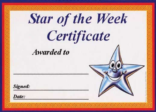 Star Of the Week Certificates New Star Of the Week Award Certificates
