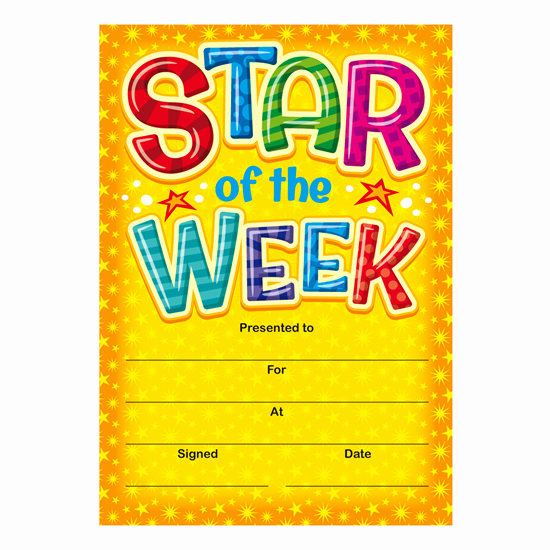 Star Of the Week Certificates New Star Of the Week Mini Certificates