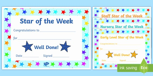 Star Of the Week Certificates New whole School Star Of the Week Certificates Slt Rewards