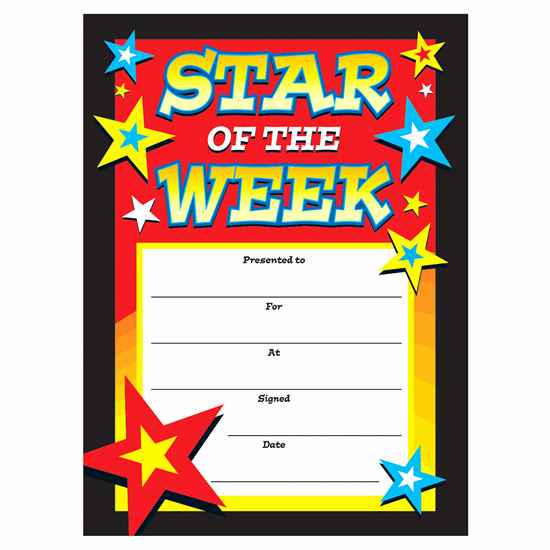 Star Of the Week Certificates Unique Certificates Star Of the Week