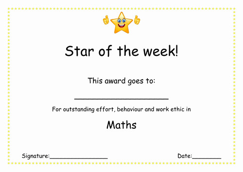 Star Of the Week Certificates Unique Star Of the Week Certificate Reward Positive by
