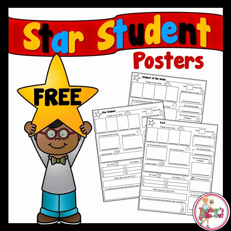 Star Of the Week Poster Printable Awesome Teacher S Take Out Star Student Poster Freebie