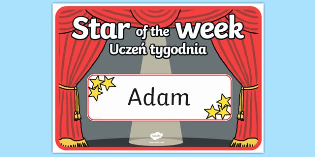 Star Of the Week Poster Printable Best Of Star Of the Week Stage A3 Poster Polish Translation Polish