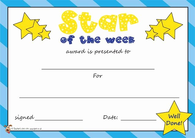 Star Of the Week Poster Printable Fresh Teacher S Pet Star Of the Week Certificate