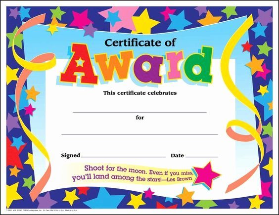 Star Of the Week Printable Elegant Certificate Template for Kids Free Certificate Templates