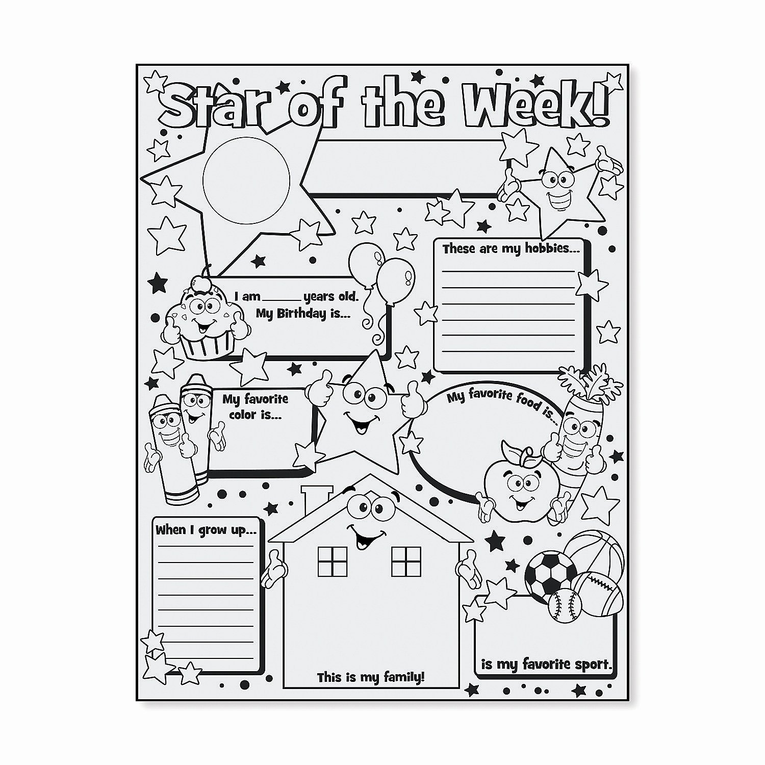 "Star Of the Week Printable Elegant Color Your Own ""star Of the Week"" Posters oriental Trading"