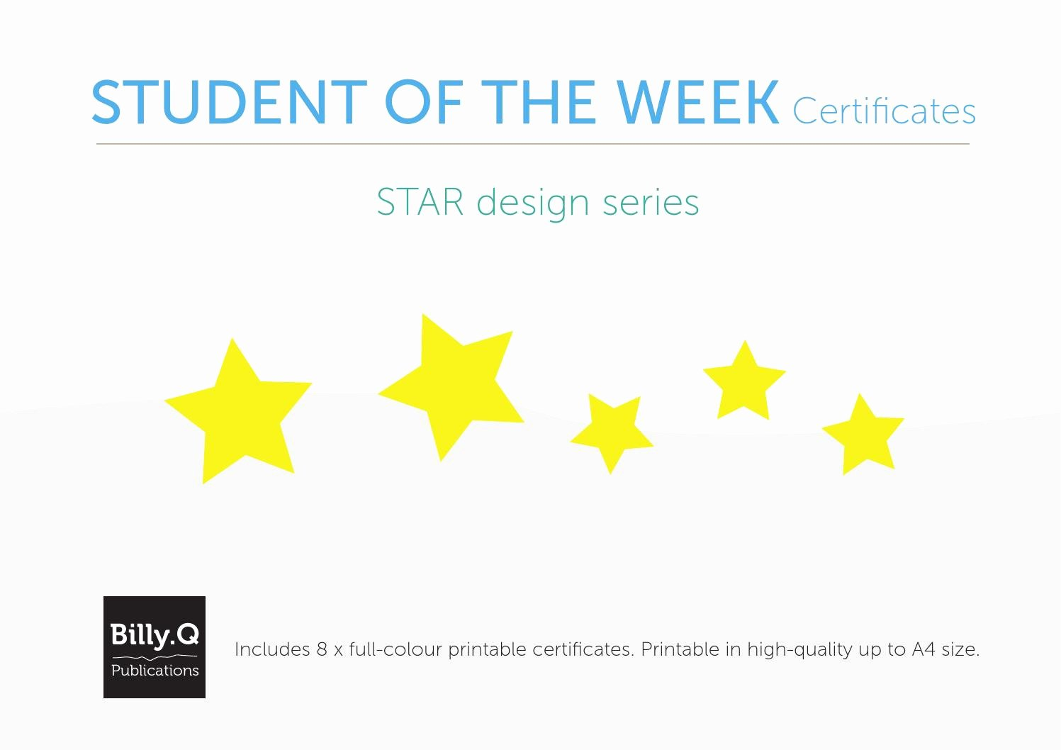 Star Of the Week Printable Inspirational Student Of the Week Printable Certificates Star Series