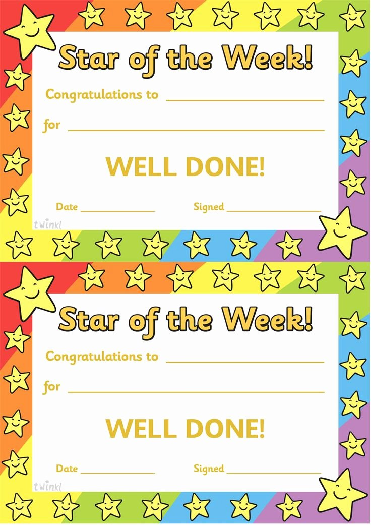 Star Of the Week Printable Lovely Best 20 Award Certificates Ideas On Pinterest