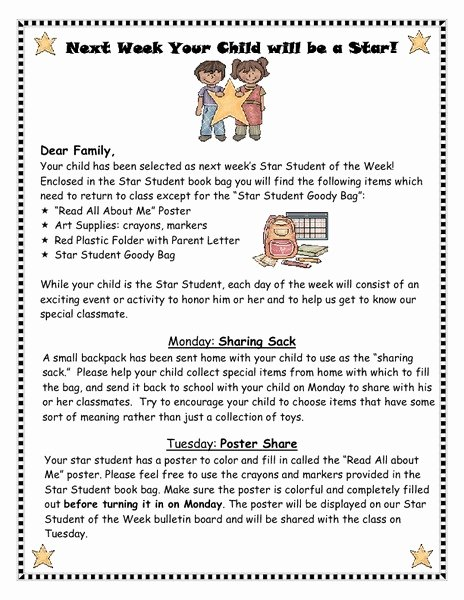 Star Of the Week Printable Lovely Star Student Of the Week Letter Printables & Template for