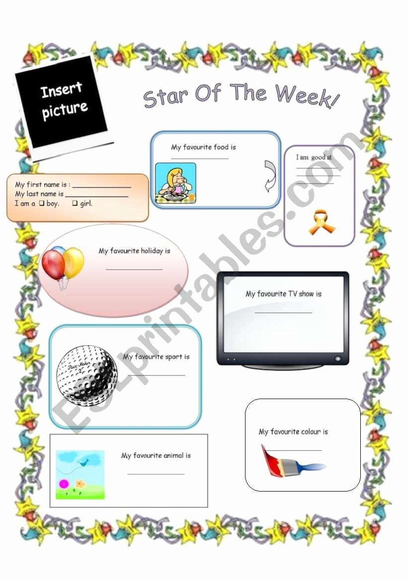 Star Of the Week Printable New Star Student Of the Week Esl Worksheet by Manonski F