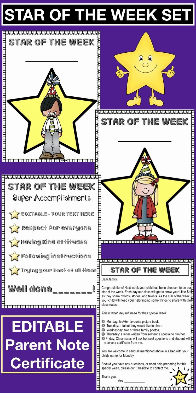 Star Of the Week Printables Beautiful Editable Star Of the Week Set