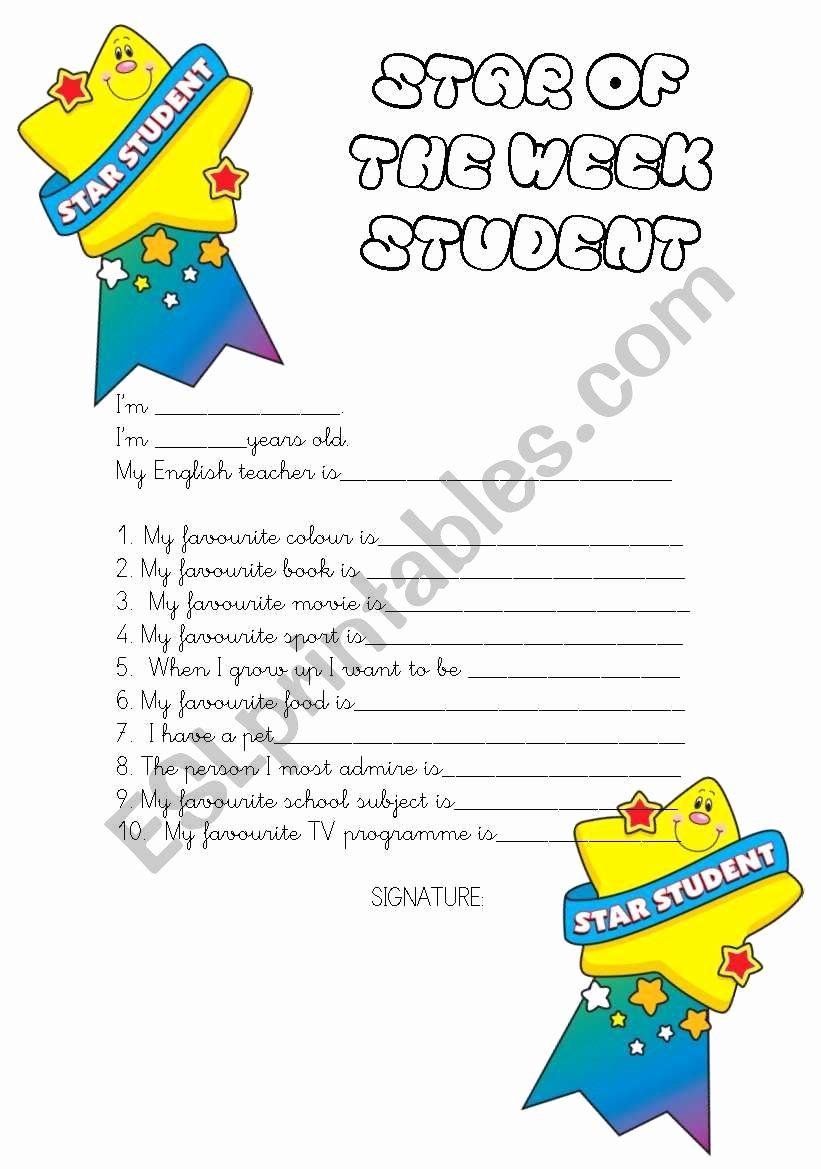Star Of the Week Printables Elegant Star Of the Week Student Info Sheet Esl Worksheet by Mandm