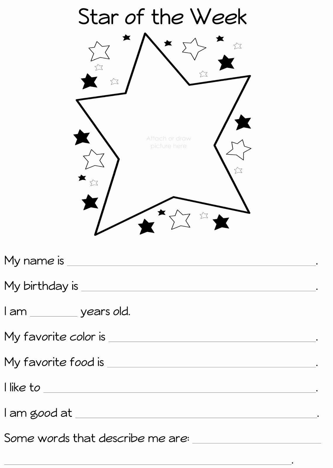 Star Of the Week Printables Inspirational River Bliss Star Of the Week Celebrating What S Special