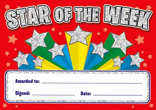 Star Of the Week Template Elegant Star Of the Week Certificates Sparkling