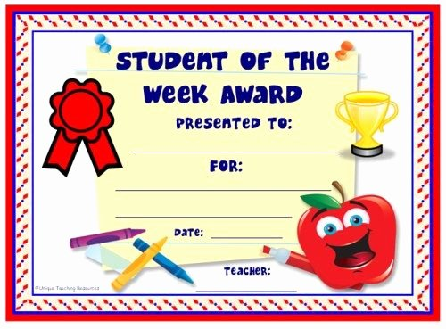 Star Of the Week Template Inspirational Achievement Award Certificates
