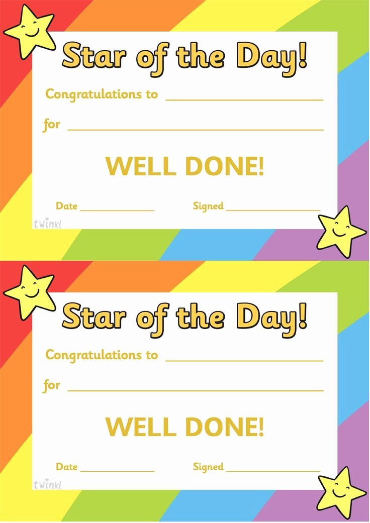 Star Of the Week Template Inspirational Twinkl Resources Star Of the Day A4 Poster Classroom