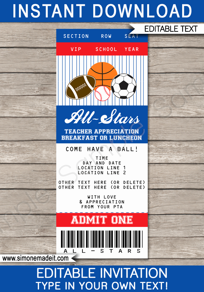 Star Of the Week Template Lovely All Star Teacher Appreciation Week Breakfast or Lunch