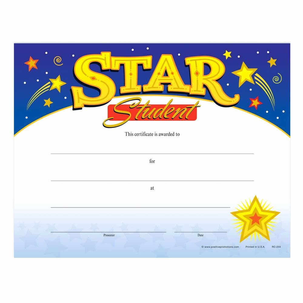 Star Of the Week Templates Awesome Star Student Gold Foil Stamped Certificates