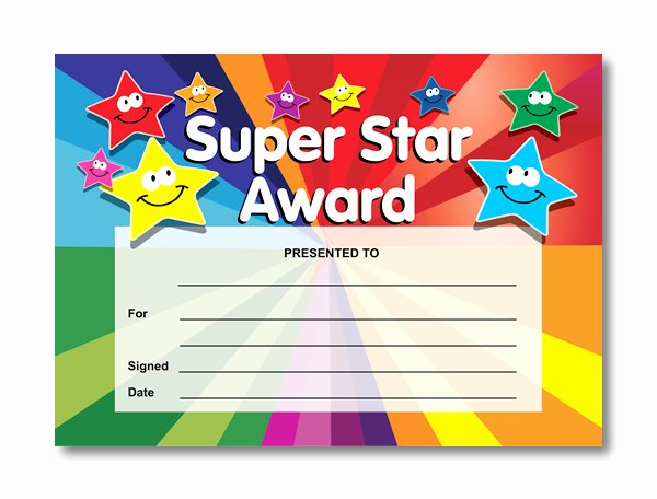 Star Of the Week Templates Beautiful Super Star Award Certificates